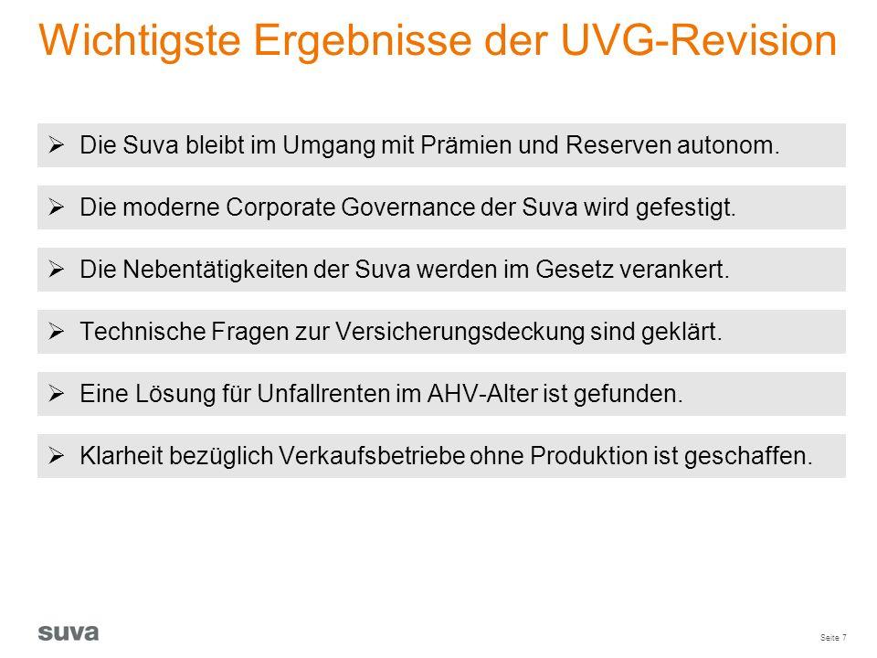 Seite 7 Wichtigste Ergebnisse der UVG-Revision  Die Suva bleibt im Umgang mit Prämien und Reserven autonom.  Die moderne Corporate Governance der Su