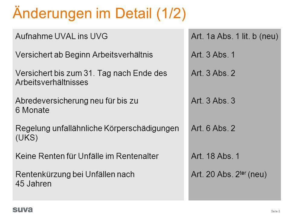 Seite 8 Änderungen im Detail (1/2) Art. 1a Abs. 1 lit. b (neu) Art. 3 Abs. 1 Art. 3 Abs. 2 Art. 3 Abs. 3 Art. 6 Abs. 2 Art. 18 Abs. 1 Art. 20 Abs. 2 t