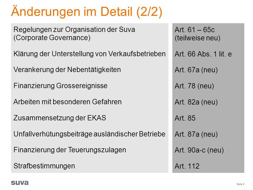 Seite 9 Änderungen im Detail (2/2) Art. 61 – 65c (teilweise neu) Art. 66 Abs. 1 lit. e Art. 67a (neu) Art. 78 (neu) Art. 82a (neu) Art. 85 Art. 87a (n