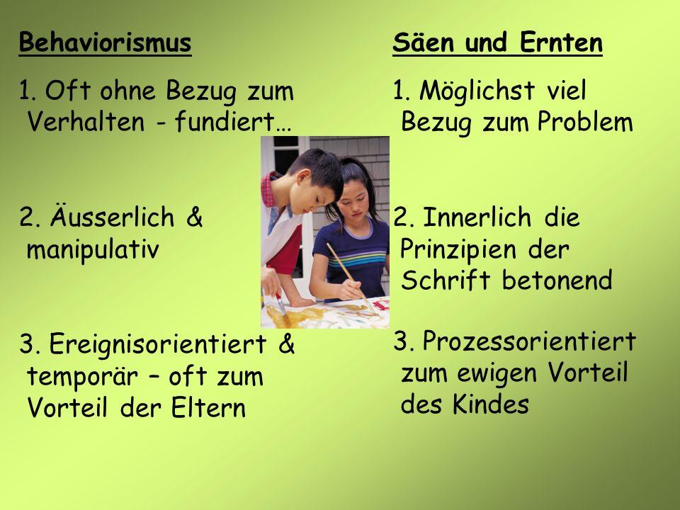 Behaviorismus 1. Oft ohne Bezug zum Verhalten - fundiert… 2. Äusserlich & manipulativ 3. Ereignisorientiert & temporär – oft zum Vorteil der Eltern Sä