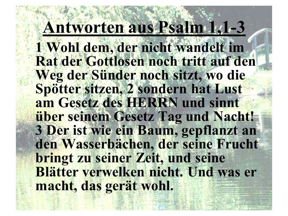 Antworten aus Psalm 1,1-3 1 Wohl dem, der nicht wandelt im Rat der Gottlosen noch tritt auf den Weg der Sünder noch sitzt, wo die Spötter sitzen, 2 so