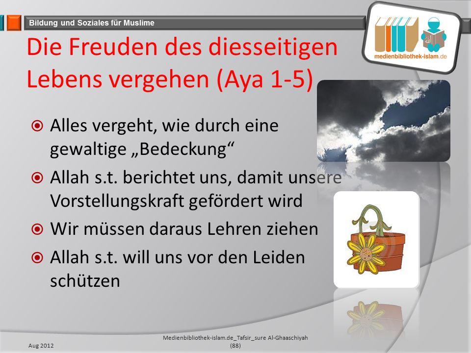 """Die Freuden des diesseitigen Lebens vergehen (Aya 1-5)  Alles vergeht, wie durch eine gewaltige """"Bedeckung  Allah s.t."""