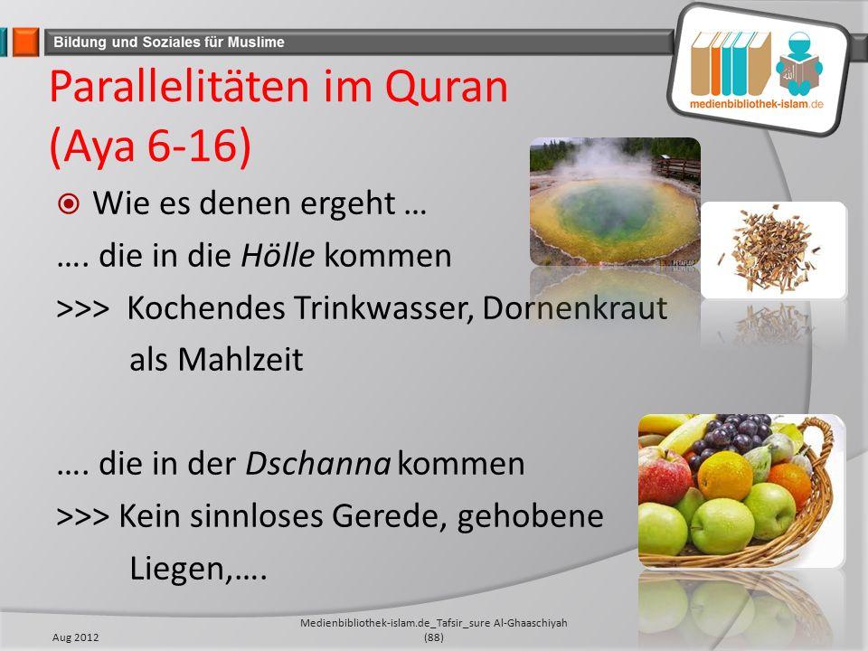 Parallelitäten im Quran (Aya 6-16)  Wie es denen ergeht … ….