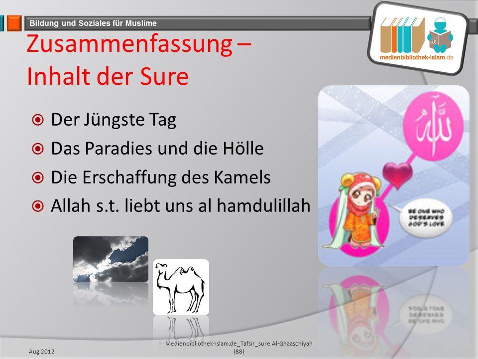 Zusammenfassung – Inhalt der Sure  Der Jüngste Tag  Das Paradies und die Hölle  Die Erschaffung des Kamels  Allah s.t.