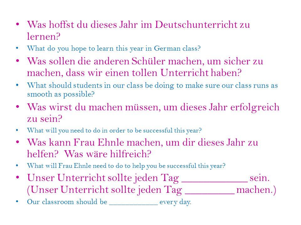 Was hoffst du dieses Jahr im Deutschunterricht zu lernen.