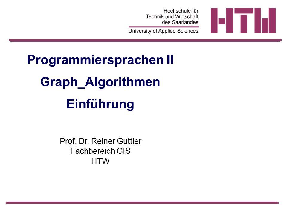 Programmiersprachen II Graph_Algorithmen Einführung Prof. Dr. Reiner Güttler Fachbereich GIS HTW