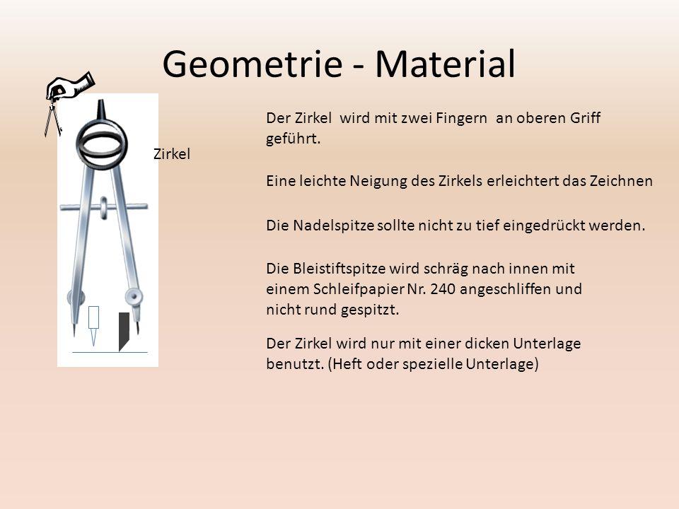 Geometrie - Material Zirkel Der Zirkel wird mit zwei Fingern an oberen Griff geführt.