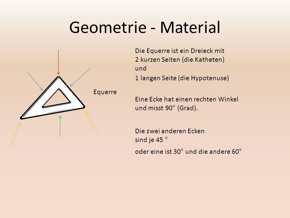 Geometrie - Material Die Equerre ist ein Dreieck mit 2 kurzen Seiten (die Katheten) und Equerre Eine Ecke hat einen rechten Winkel und misst 90° (Grad).