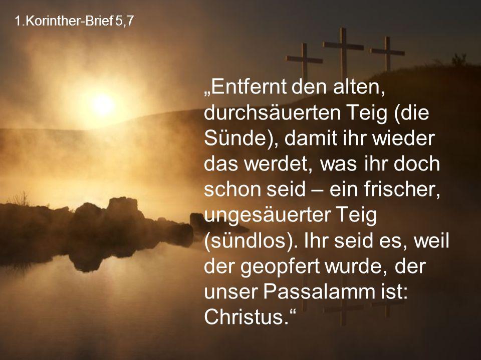 """1.Korinther-Brief 5,7 """"Entfernt den alten, durchsäuerten Teig (die Sünde), damit ihr wieder das werdet, was ihr doch schon seid – ein frischer, ungesä"""