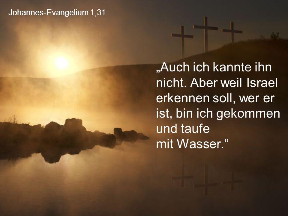 """Johannes-Evangelium 1,31 """"Auch ich kannte ihn nicht. Aber weil Israel erkennen soll, wer er ist, bin ich gekommen und taufe mit Wasser."""""""