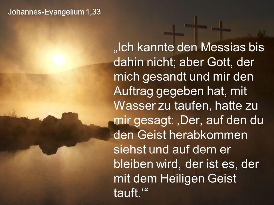 """Johannes-Evangelium 1,33 """"Ich kannte den Messias bis dahin nicht; aber Gott, der mich gesandt und mir den Auftrag gegeben hat, mit Wasser zu taufen, h"""