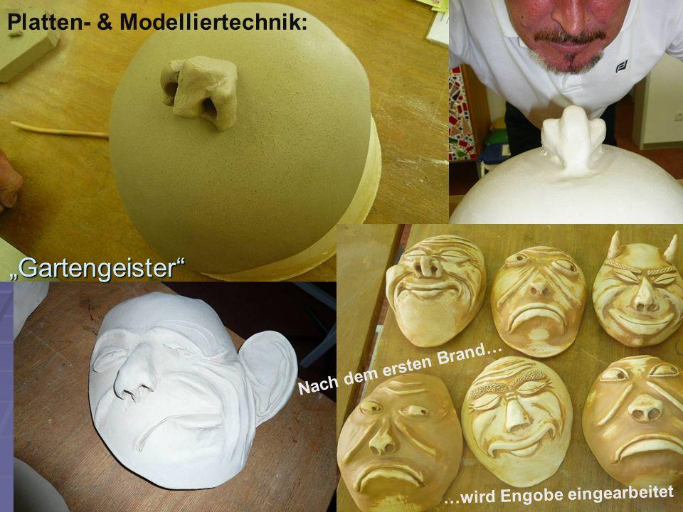 """Platten- & Modelliertechnik: """"Gartengeister"""" …wird Engobe eingearbeitet Nach dem ersten Brand…"""