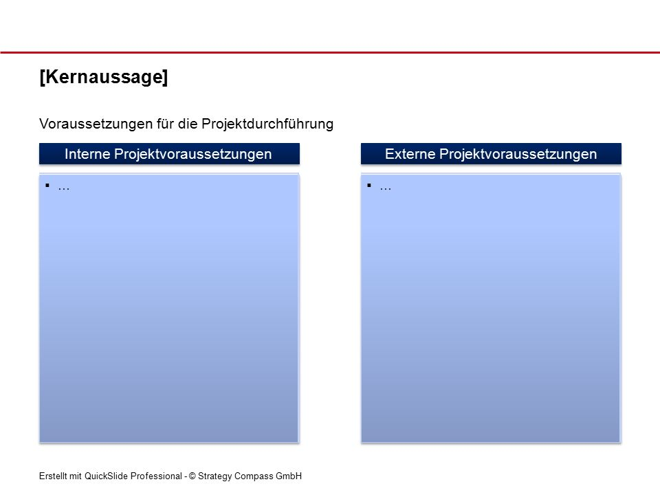 Erstellt mit QuickSlide Professional - © Strategy Compass GmbH [Kernaussage] Interne Projektvoraussetzungen …… …… Externe Projektvoraussetzungen …… …… Voraussetzungen für die Projektdurchführung