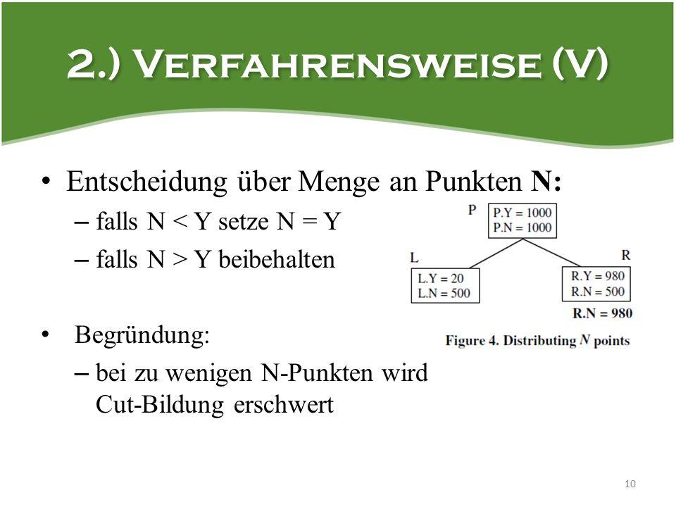 2.) Verfahrensweise (V) 10 Entscheidung über Menge an Punkten N: – falls N < Y setze N = Y – falls N > Y beibehalten Begründung: – bei zu wenigen N-Punkten wird Cut-Bildung erschwert