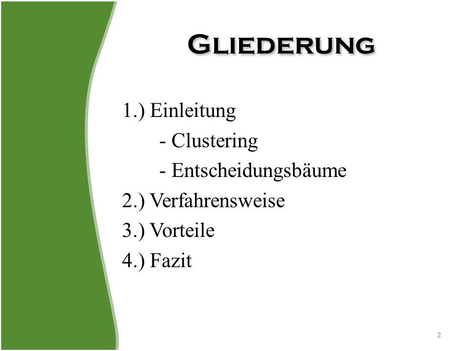 2.) Verfahrensweise (VII) 13 Pruning: – CL Tree teilt Datenraum solange auf bis nur Punkte einer Klasse (Y oder N) im Teilbereich vorhanden oder keine weitere Verbesserung möglich – 2 Möglichkeiten für Anwender: 1.