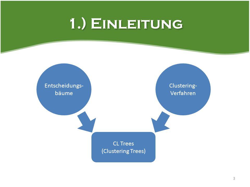 1.) Einleitung 3 Entscheidungs- bäume CL Trees (Clustering Trees) Clustering- Verfahren