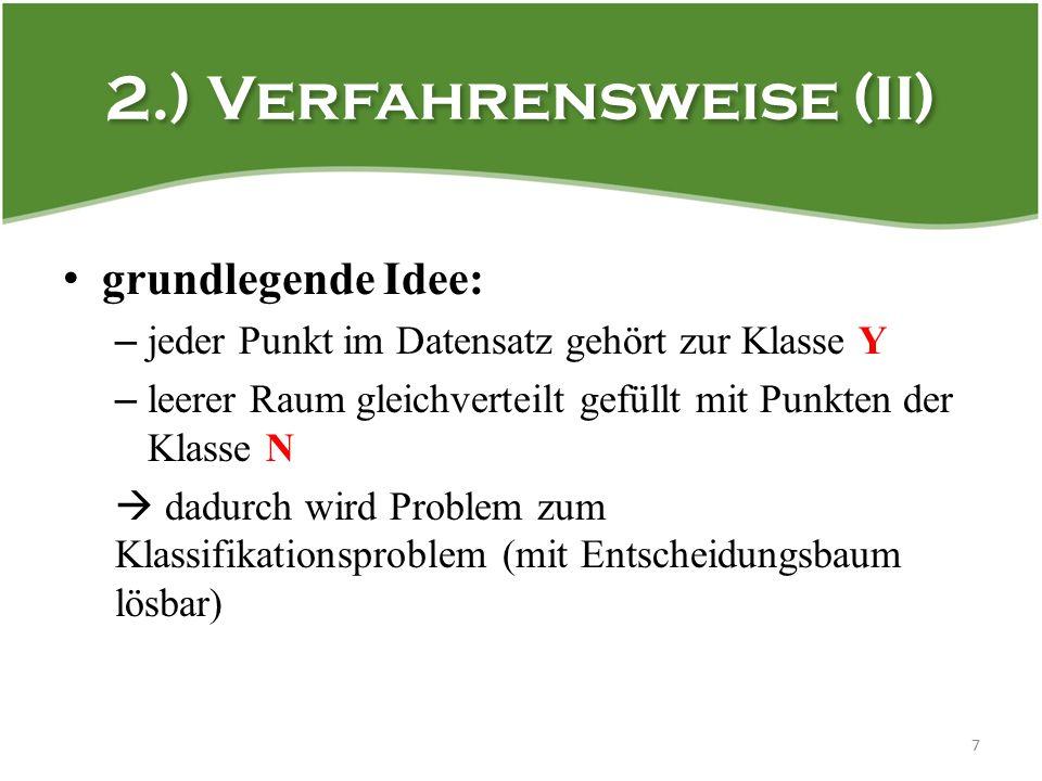 2.) Verfahrensweise (II) grundlegende Idee: – jeder Punkt im Datensatz gehört zur Klasse Y – leerer Raum gleichverteilt gefüllt mit Punkten der Klasse N  dadurch wird Problem zum Klassifikationsproblem (mit Entscheidungsbaum lösbar) 7