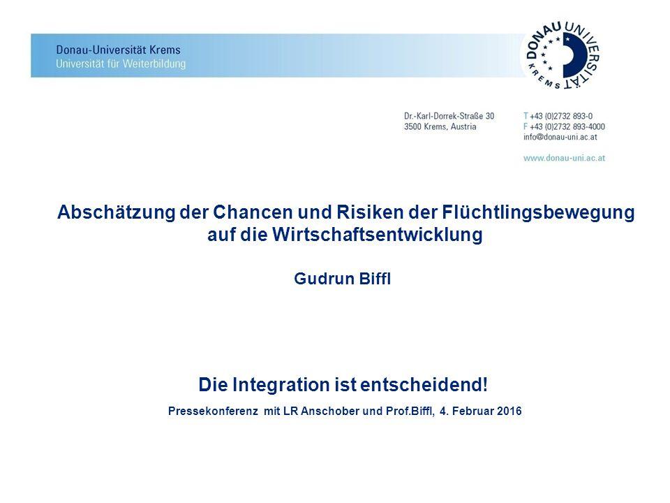 Abschätzung der Chancen und Risiken der Flüchtlingsbewegung auf die Wirtschaftsentwicklung Gudrun Biffl Die Integration ist entscheidend! Pressekonfer