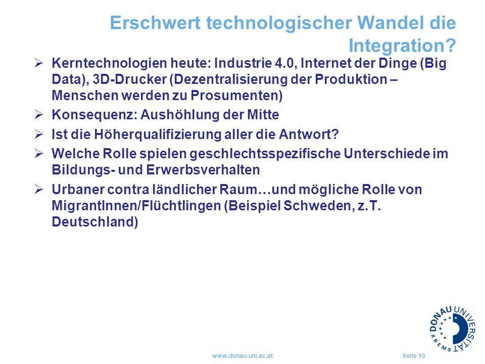 Erschwert technologischer Wandel die Integration?  Kerntechnologien heute: Industrie 4.0, Internet der Dinge (Big Data), 3D-Drucker (Dezentralisierun