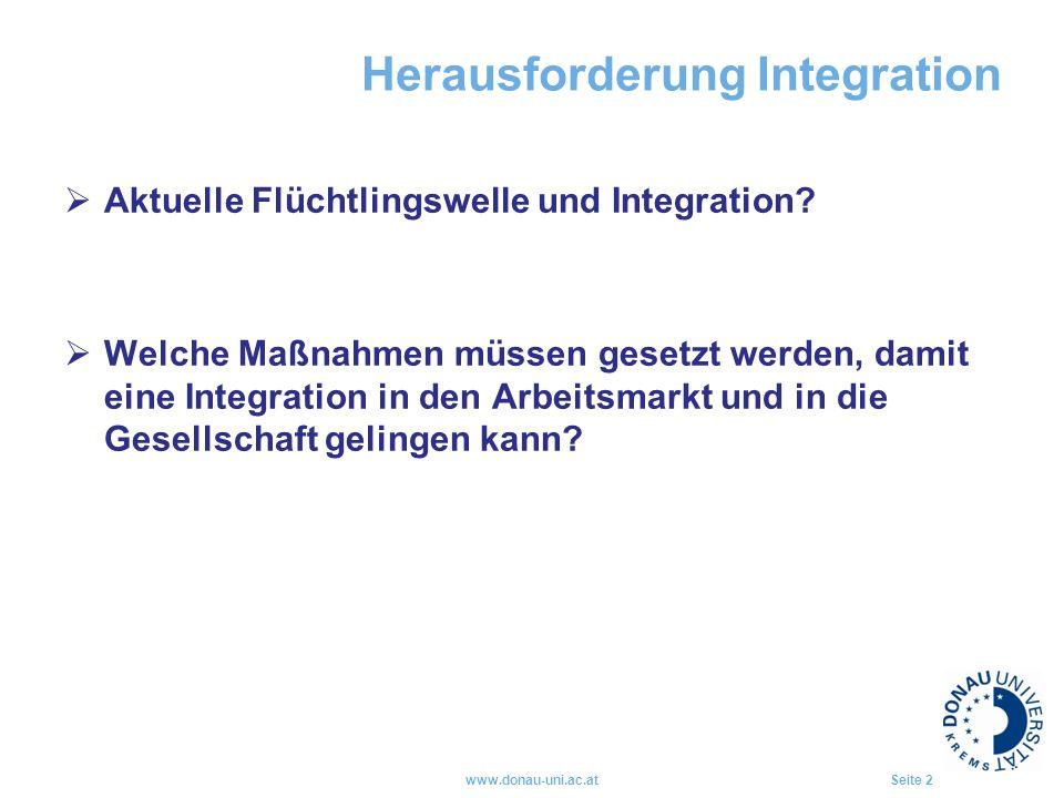 Herausforderung Integration  Aktuelle Flüchtlingswelle und Integration?  Welche Maßnahmen müssen gesetzt werden, damit eine Integration in den Arbei