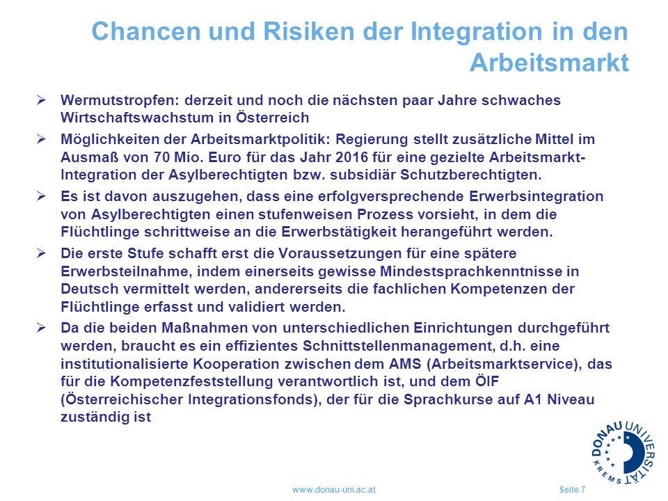 Chancen und Risiken der Integration in den Arbeitsmarkt  Wermutstropfen: derzeit und noch die nächsten paar Jahre schwaches Wirtschaftswachstum in Österreich  Möglichkeiten der Arbeitsmarktpolitik: Regierung stellt zusätzliche Mittel im Ausmaß von 70 Mio.