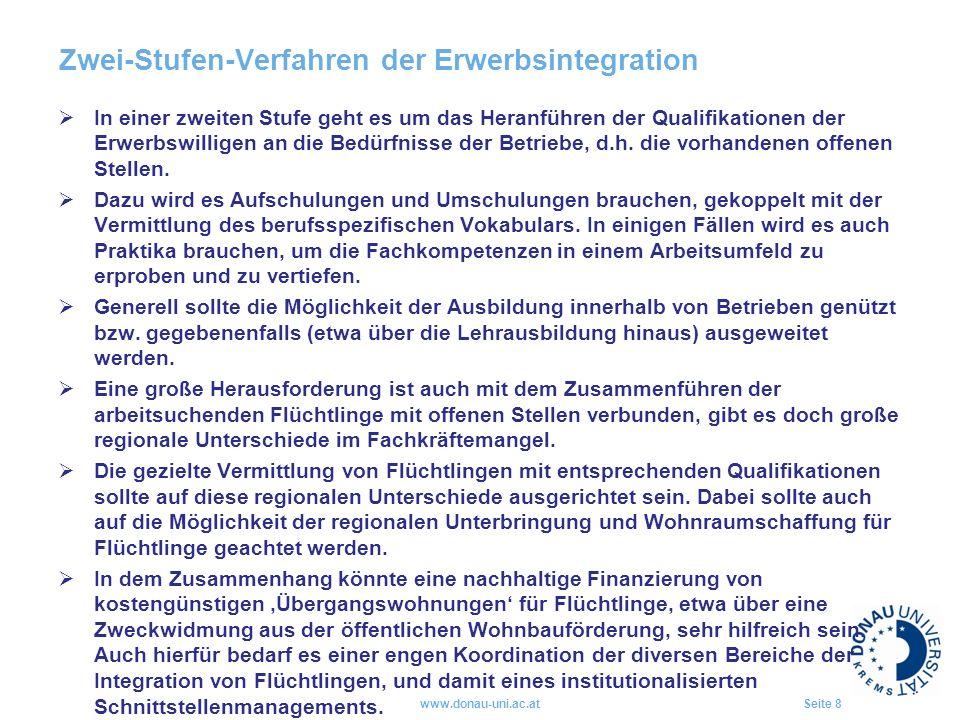 Zwei-Stufen-Verfahren der Erwerbsintegration  In einer zweiten Stufe geht es um das Heranführen der Qualifikationen der Erwerbswilligen an die Bedürfnisse der Betriebe, d.h.