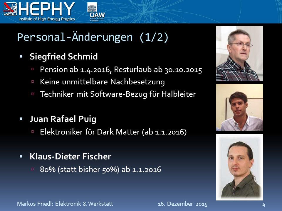 Personal-Änderungen (1/2)  Siegfried Schmid  Pension ab 1.4.2016, Resturlaub ab 30.10.2015  Keine unmittelbare Nachbesetzung  Techniker mit Software-Bezug für Halbleiter  Juan Rafael Puig  Elektroniker für Dark Matter (ab 1.1.2016)  Klaus-Dieter Fischer  80% (statt bisher 50%) ab 1.1.2016 16.