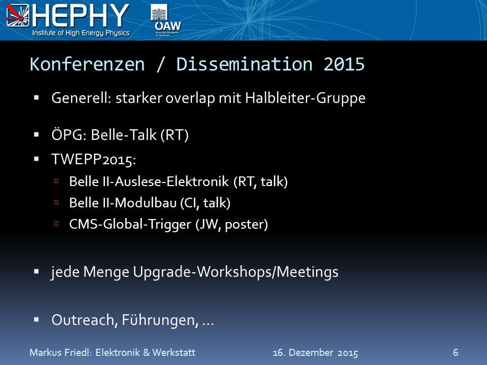 Konferenzen / Dissemination 2015  Generell: starker overlap mit Halbleiter-Gruppe  ÖPG: Belle-Talk (RT)  TWEPP2015:  Belle II-Auslese-Elektronik (RT, talk)  Belle II-Modulbau (CI, talk)  CMS-Global-Trigger (JW, poster)  jede Menge Upgrade-Workshops/Meetings  Outreach, Führungen, … 16.