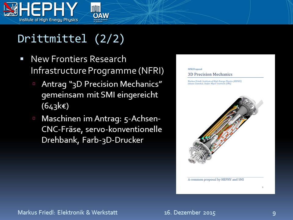 Drittmittel (2/2)  New Frontiers Research Infrastructure Programme (NFRI)  Antrag 3D Precision Mechanics gemeinsam mit SMI eingereicht (643k€)  Maschinen im Antrag: 5-Achsen- CNC-Fräse, servo-konventionelle Drehbank, Farb-3D-Drucker 16.