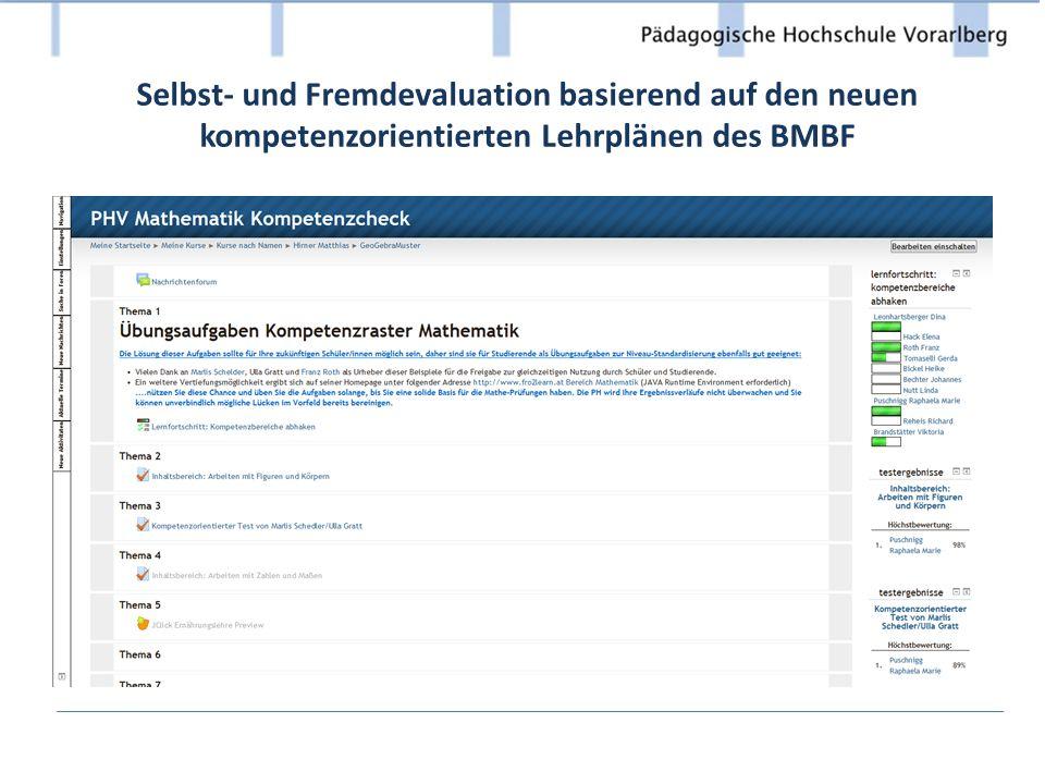 Selbst- und Fremdevaluation basierend auf den neuen kompetenzorientierten Lehrplänen des BMBF