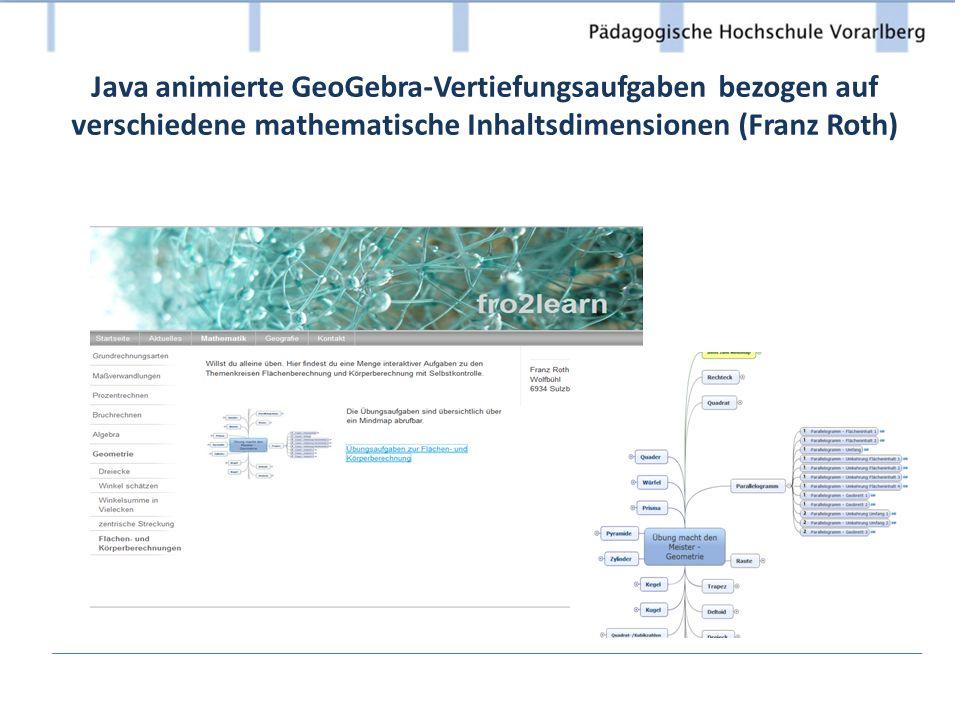 Java animierte GeoGebra-Vertiefungsaufgaben bezogen auf verschiedene mathematische Inhaltsdimensionen (Franz Roth)