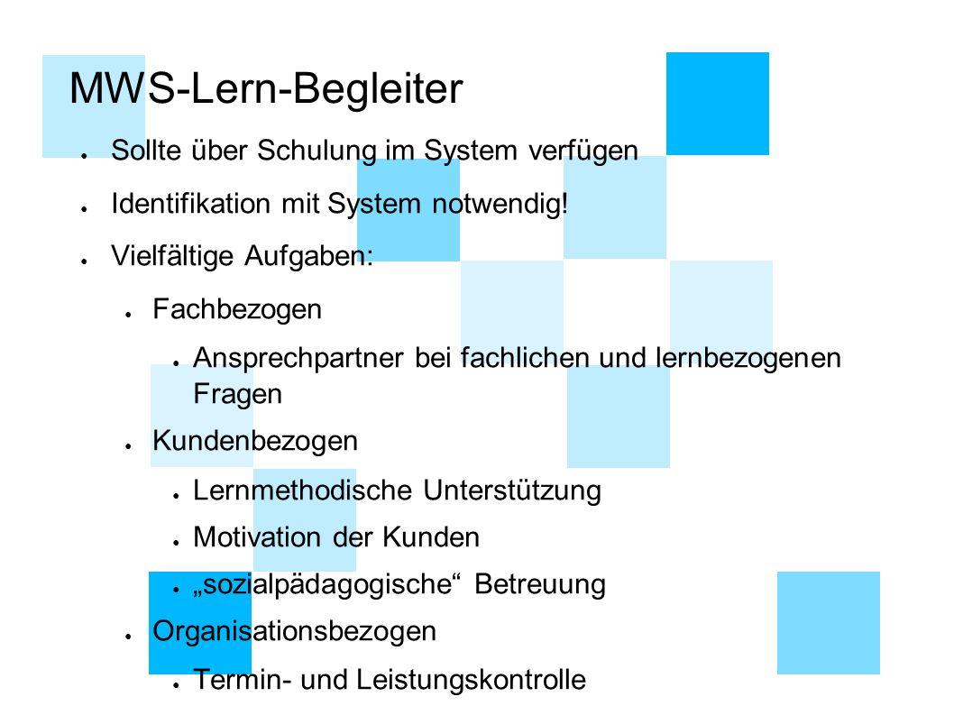 MWS-Lern-Begleiter ● Sollte über Schulung im System verfügen ● Identifikation mit System notwendig.