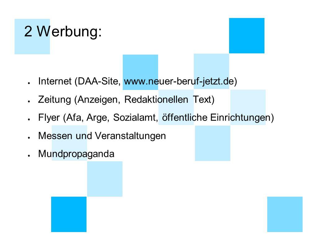 2 Werbung: ● Internet (DAA-Site, www.neuer-beruf-jetzt.de) ● Zeitung (Anzeigen, Redaktionellen Text) ● Flyer (Afa, Arge, Sozialamt, öffentliche Einric