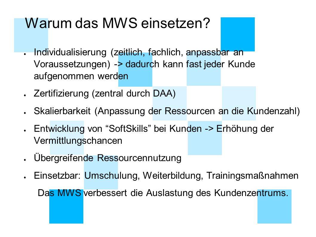 Warum das MWS einsetzen? ● Individualisierung (zeitlich, fachlich, anpassbar an Voraussetzungen) -> dadurch kann fast jeder Kunde aufgenommen werden ●