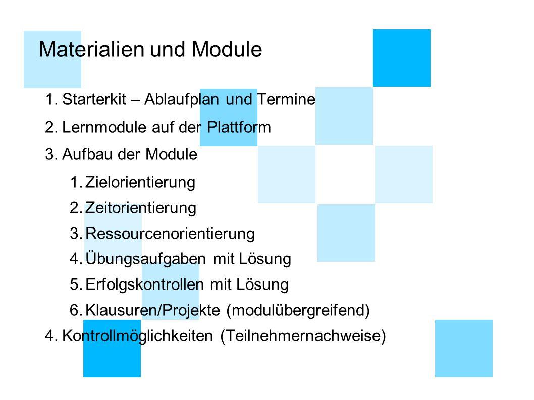 Materialien und Module 1.Starterkit – Ablaufplan und Termine 2.Lernmodule auf der Plattform 3.Aufbau der Module 1.Zielorientierung 2.Zeitorientierung
