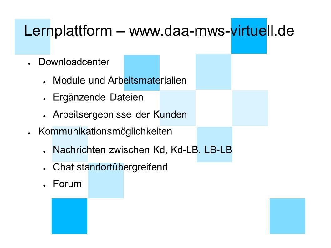 Lernplattform – www.daa-mws-virtuell.de ● Downloadcenter ● Module und Arbeitsmaterialien ● Ergänzende Dateien ● Arbeitsergebnisse der Kunden ● Kommuni