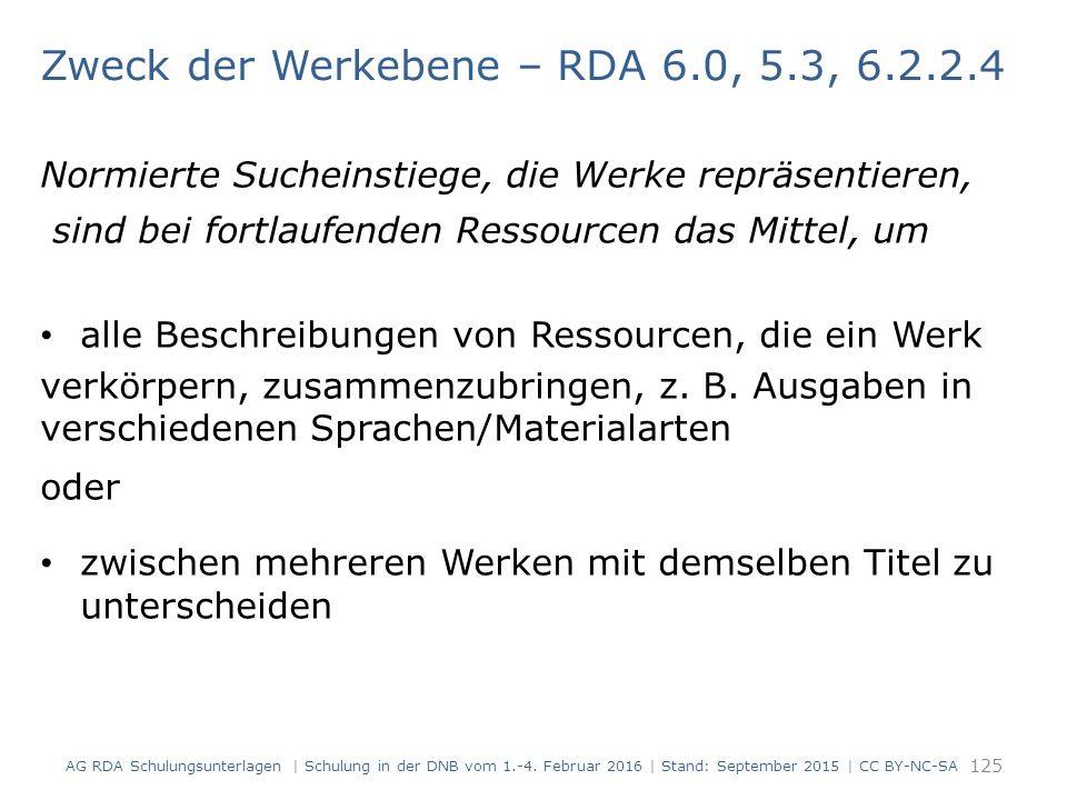 Zweck der Werkebene – RDA 6.0, 5.3, 6.2.2.4 Normierte Sucheinstiege, die Werke repräsentieren, sind bei fortlaufenden Ressourcen das Mittel, um alle B