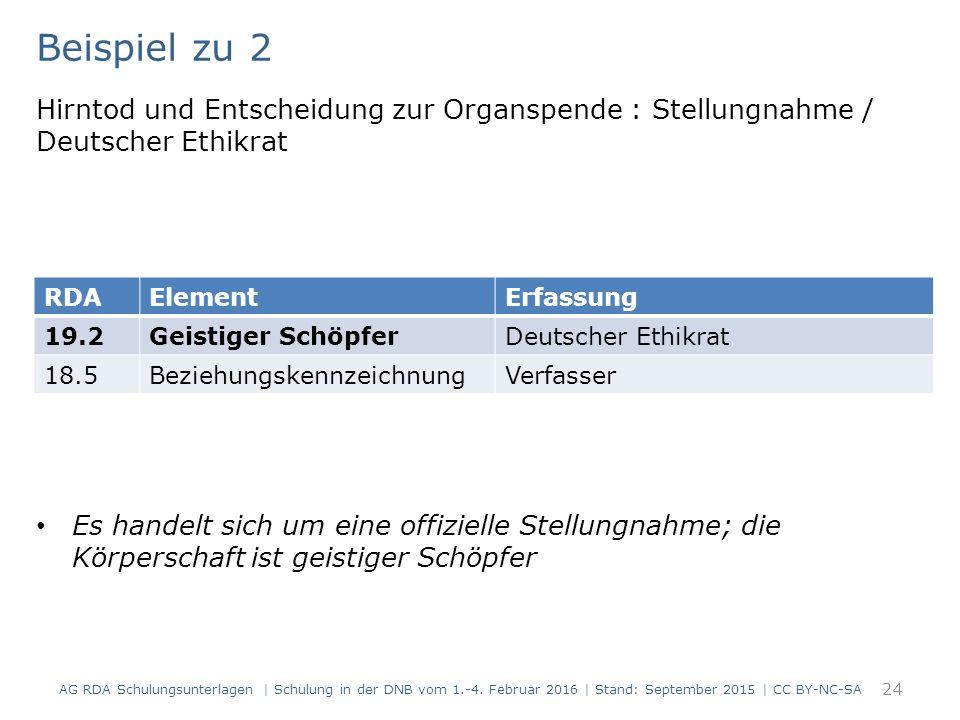 Beispiel zu 2 Hirntod und Entscheidung zur Organspende : Stellungnahme / Deutscher Ethikrat Es handelt sich um eine offizielle Stellungnahme; die Körperschaft ist geistiger Schöpfer 24 RDAElementErfassung 19.2Geistiger SchöpferDeutscher Ethikrat 18.5BeziehungskennzeichnungVerfasser AG RDA Schulungsunterlagen | Schulung in der DNB vom 1.-4.