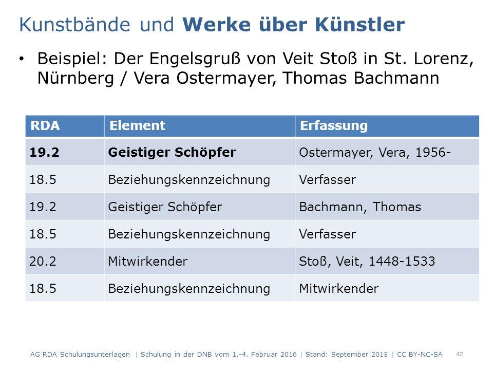 Beispiel: Der Engelsgruß von Veit Stoß in St. Lorenz, Nürnberg / Vera Ostermayer, Thomas Bachmann 42 RDAElementErfassung 19.2Geistiger SchöpferOsterm