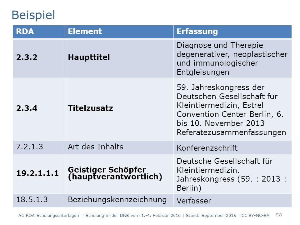 Beispiel 59 RDAElementErfassung 2.3.2Haupttitel Diagnose und Therapie degenerativer, neoplastischer und immunologischer Entgleisungen 2.3.4Titelzusatz