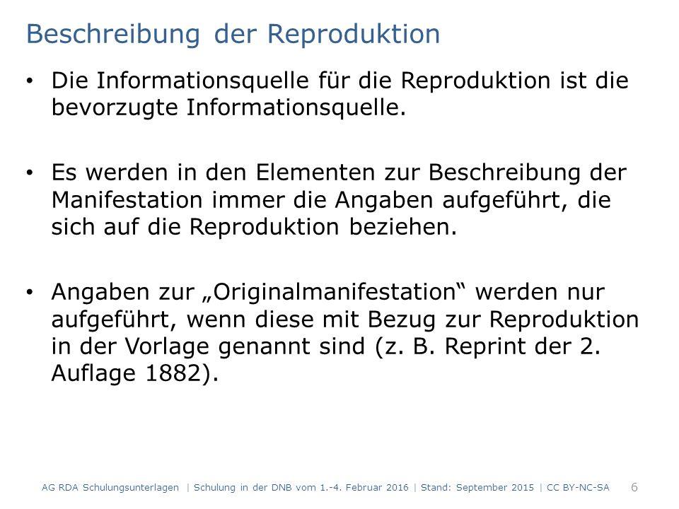 Alphanumerische Zählung Doppel- oder Mehrfachzählungen:  Bindestrich wird zu Schrägstrich Beispiel 1: Angabe in der Informationsquelle: Heft 7-9 2001 Beispiel 2: Angabe in der Informationsquelle: Band 11-12 107 RDAElementErfassung 2.6Zählung von fortlaufenden Ressourcen Heft 7/9 (2001)- RDAElementErfassung 2.6Zählung von fortlaufenden Ressourcen Band 11/12- AG RDA Schulungsunterlagen   Schulung in der DNB vom 1.-4.