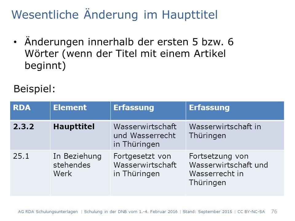 76 RDAElementErfassung 2.3.2HaupttitelWasserwirtschaft und Wasserrecht in Thüringen Wasserwirtschaft in Thüringen 25.1In Beziehung stehendes Werk Fort