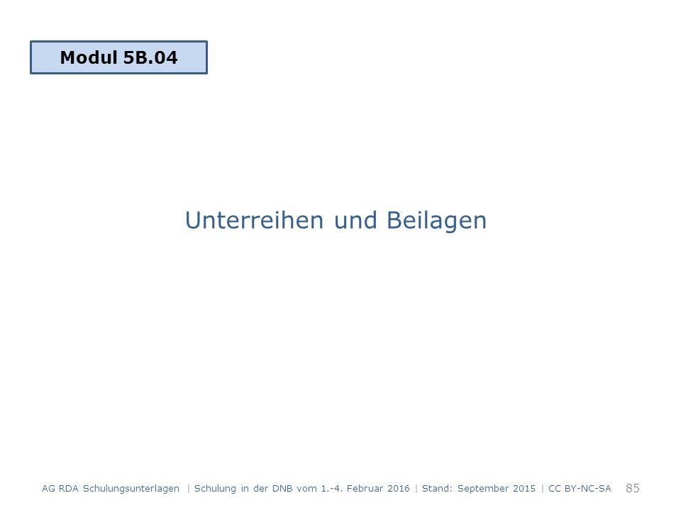 Unterreihen und Beilagen 85 Modul 5B.04 AG RDA Schulungsunterlagen | Schulung in der DNB vom 1.-4. Februar 2016 | Stand: September 2015 | CC BY-NC-SA