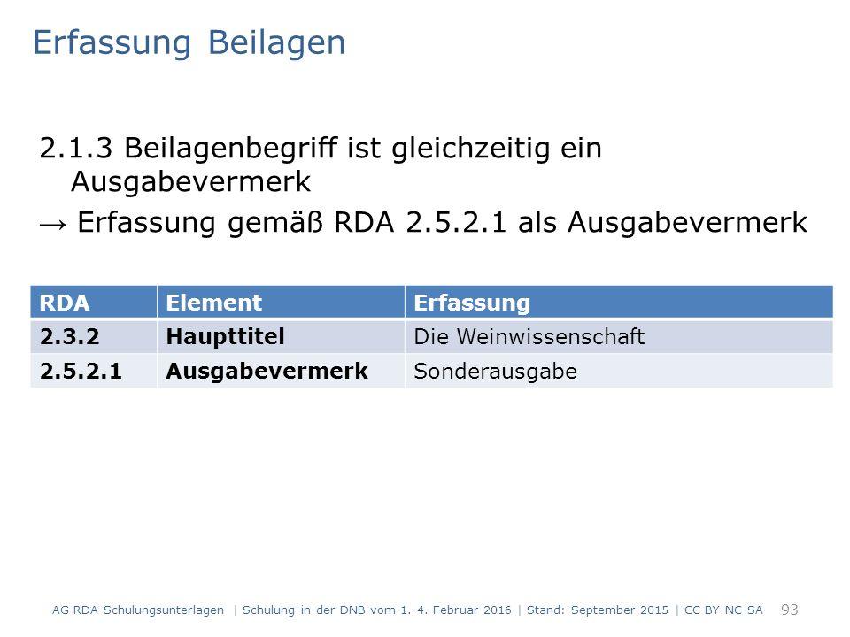 Erfassung Beilagen 2.1.3 Beilagenbegriff ist gleichzeitig ein Ausgabevermerk → Erfassung gemäß RDA 2.5.2.1 als Ausgabevermerk 93 RDAElementErfassung 2