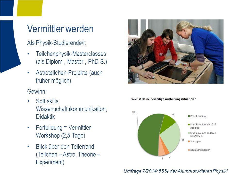 Vermittler werden Als Physik-Studierende/r: Teilchenphysik-Masterclasses (als Diplom-, Master-, PhD-S.) Astroteilchen-Projekte (auch früher möglich) G