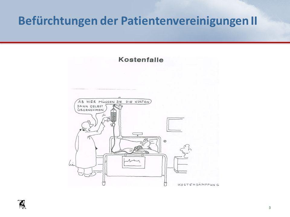 Befürchtungen der Patientenvereinigungen II 3