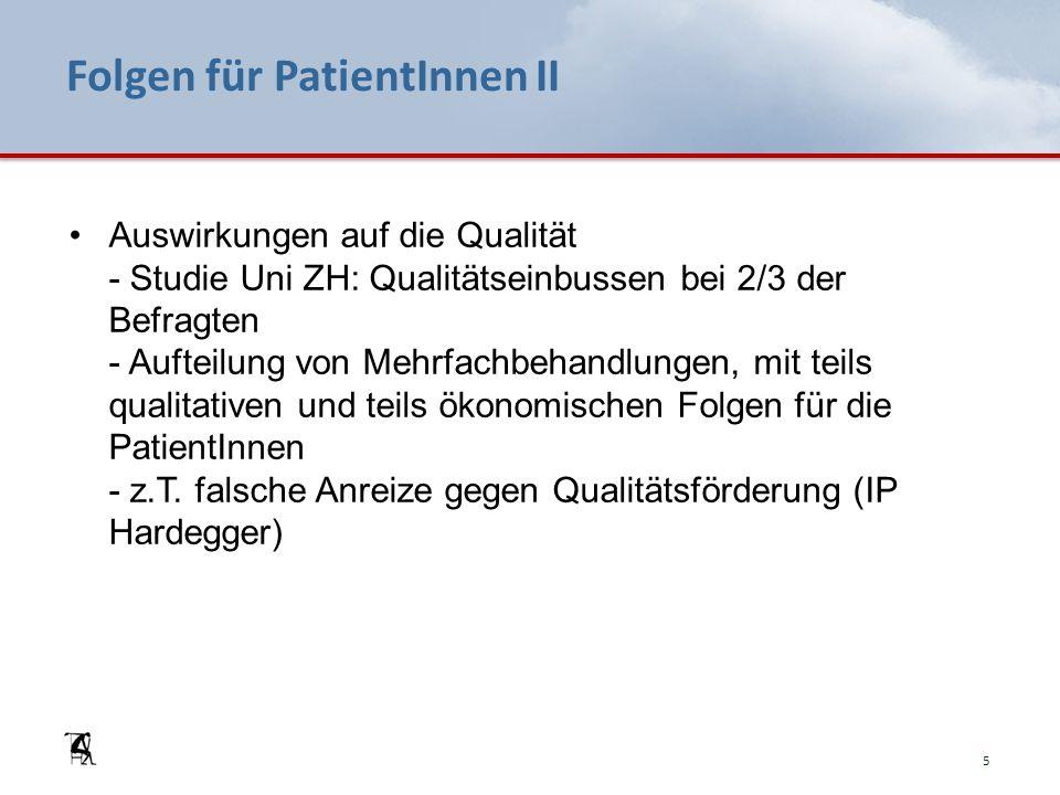 Folgen für PatientInnen II Auswirkungen auf die Qualität - Studie Uni ZH: Qualitätseinbussen bei 2/3 der Befragten - Aufteilung von Mehrfachbehandlungen, mit teils qualitativen und teils ökonomischen Folgen für die PatientInnen - z.T.