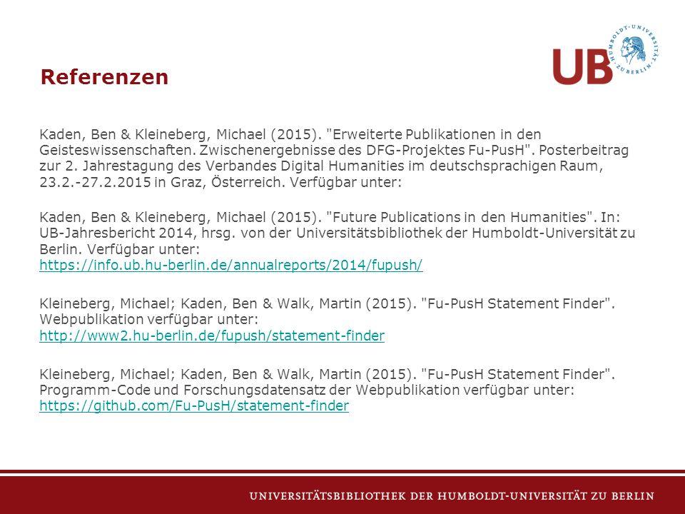 Kaden, Ben & Kleineberg, Michael (2015). Erweiterte Publikationen in den Geisteswissenschaften.