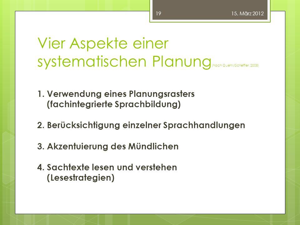 Vier Aspekte einer systematischen Planung (nach Quehll/Scheffler, 2008) 1. Verwendung eines Planungsrasters (fachintegrierte Sprachbildung) 2. Berücks