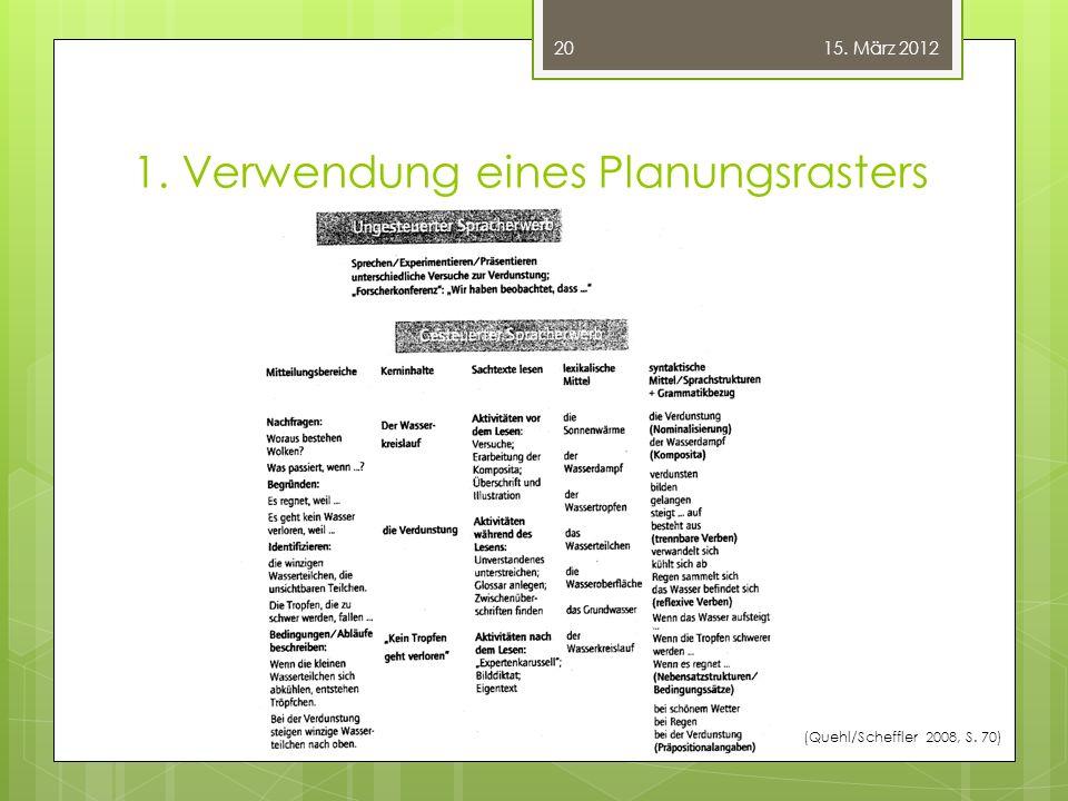1. Verwendung eines Planungsrasters (Quehl/Scheffler 2008, S. 70) 20 15. März 2012